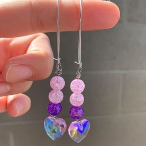 Pink and Purple Dangle Crystal Heart Earrings